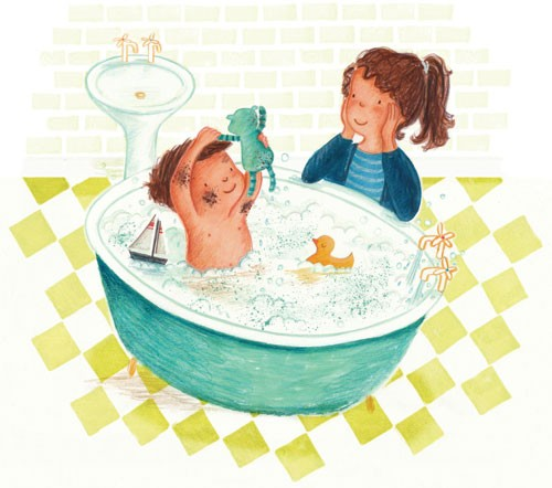 Antonia Woodward Illustration - antonia woodward, commercial, trade, picture book, picturebook, novelty, sweet, fiction, traditional, painted, collage, digital, people, children, boys, women, woman, mum, mummy, mother, bath, bathtub
