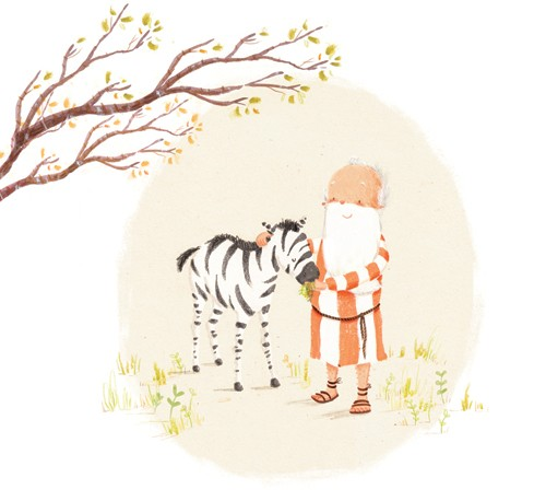 Antonia Woodward Illustration - antonia woodward, commercial, trade, picture book, picturebook, novelty, sweet, fiction, traditional, painted, collage, digital, people, noah, bible, man, men, old man, animals, zebra, religious