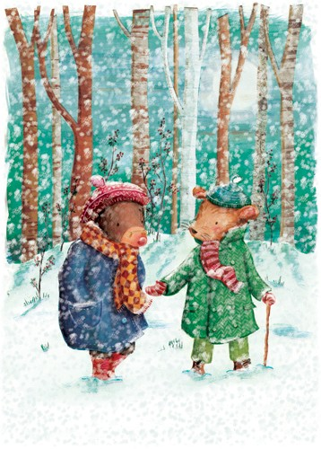 Antonia Woodward Illustration - antonia woodward, commercial, trade, picture book, picturebook, novelty, sweet, fiction, traditional, painted, collage, digital, animals, snow, winter, snowing, moles, mice, mouse, winter
