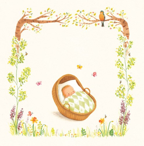 Antonia Woodward Illustration - antonia, woodward, antonia woodward, commercial, trade, picture book, picturebook, novelty, sweet, fiction, traditional, painted, baby, cute, sweet, basket, sleeping, butterfly, butterflies, insects, flowers, leaves, trees