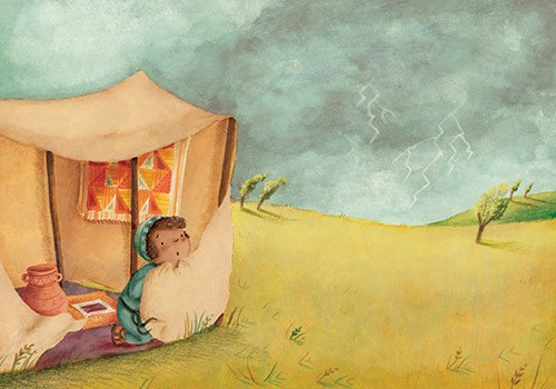 Antonia Woodward Illustration - antonia, woodward, antonia woodward, commercial, trade, picture book, picturebook, novelty, sweet, fiction, traditional, painted, child, person, cute, boy, child, person, figure, figurative, storm, clouds, sky, dark, trees, hills, tent
