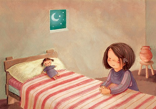 Antonia Woodward Illustration - antonia, woodward, antonia woodward, commercial, trade, picture book, picturebook, novelty, sweet, fiction, traditional, painted, child, person, girl, toy, doll, moon, stars, night, sky, night sky, night time, bed, room , bedroom, blanket, cute