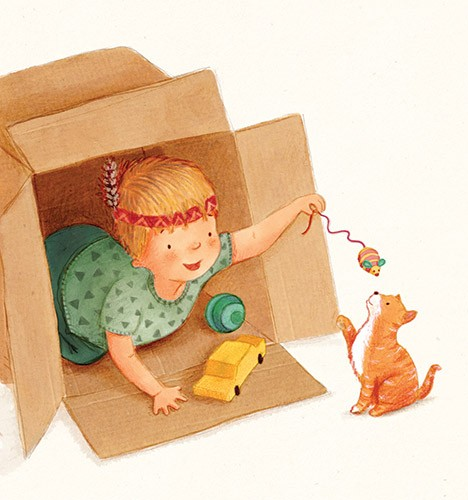 Antonia Woodward Illustration - antonia, woodward, antonia woodward, commercial, trade, picture book, picturebook, novelty, sweet, fiction, traditional, painted, child, person, cute, play, animal, pet, cat, playing, dress up, toys, box, hide mouse car, ball, boy, figure