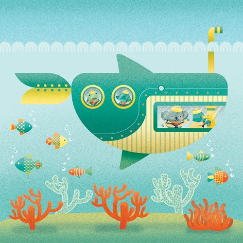 Brenda Figueroa Illustration - brenda, brenda figuera, commercial, digital, young readers, YA, picture books, hand drawn, paint, coloured, fiction, cute, sweet, koala, koala bear, frog, seal, fish, submarine, water, under water, sea, ocean , playing, play time