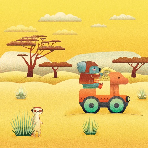 Brenda Figueroa Illustration - brenda, brenda figuera, commercial, digital, young readers, YA, picture books, hand drawn, paint, coloured, fiction, cute, sweet, animals, koala, koala bear, meerkat, dessert, trees, grass, vehicle, clouds, sky