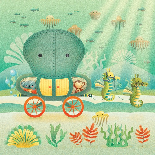 Brenda Figueroa Illustration - brenda, brenda figuera, commercial, digital, young readers, YA, picture books, hand drawn, paint, coloured, fiction, water, under sea, sea, seahorse, monkey, koala, koala bear, animals, cute, sweet, carriage, jellyfish, fish, seaweed