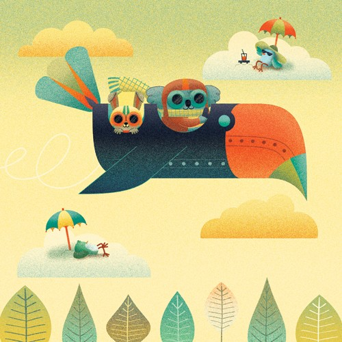 Brenda Figueroa Illustration - brenda, brenda figuera, commercial, digital, young readers, YA, picture books, hand drawn, paint, coloured, fiction, animals, koala bear, koala, bunny, rabbit, cute, sweet, plane, bird, clouds, sky, umbrella, trees