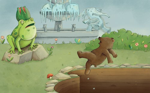 Brenda Figueroa Illustration - brenda, brenda figuera, commercial, digital, young readers, YA, picture books, bear, frog, elephant, animals, flowers, grass, fountain, colour, colourful