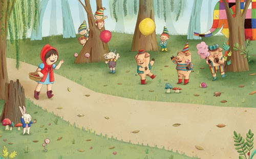 Brenda Figueroa Illustration - brenda, brenda figuera, commercial, digital, young readers, YA, picture books,  children, child, people, person, girl, animals, pigs, elephant, rabbit, forest, trees, balloons, path