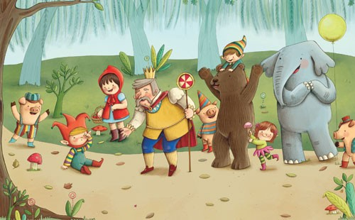 Brenda Figueroa Illustration - brenda, brenda figuera, commercial, digital, young readers, YA, picture books, animals, elephant, bear, pig, piglet, cute, sweet, elves, elf, forest, trees, path, king, balloons, children, child, person, people, man