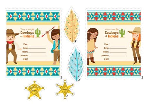 Brenda Figueroa Illustration - brenda, brenda figuera, commercial, digital, young readers, YA, picture books, sheriff, cowboys and indians, dress up, cactus, pattern, child, children, people, person, figures, figurative, cutout, template, invitation, party, feathers