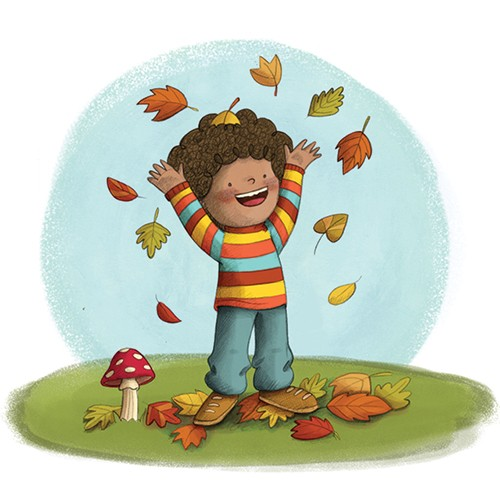 Brenda Figueroa Illustration - brenda, brenda figuera, commercial, digital, young readers, YA, picture books, hand drawn, paint, coloured, fiction, autumn, leaves, happy, seasons, seasonal