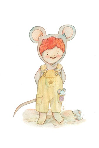 Brenda Figueroa Illustration - brenda, brenda figueroa, commercial, traditional, painterly, watercolour, sweet, young readers, picture books, hand drawn, paint, coloured, fiction, character, child, boy, mouse, cute, dungarees, mice, dress up, costume, animal, wildlife, pumpkins, pet
