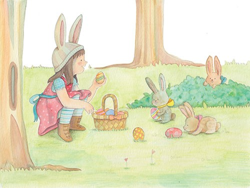Brenda Figueroa Illustration - brenda, brenda figueroa, commercial, traditional, painterly, watercolour, sweet, young readers, picture books, hand drawn, paint, coloured, fiction, character, girl, bunny, rabbit, woodland, woods, easter, eggs, basket, dress, cute, sweet, trees, dress up