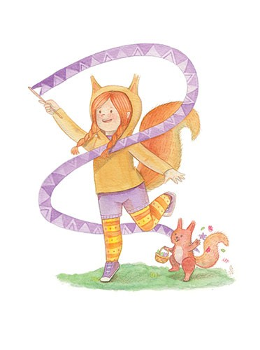 Brenda Figueroa Illustration - brenda, brenda figueroa, commercial, traditional, painterly, watercolour, sweet, young readers, picture books, ribbon, playing, hand drawn, paint, coloured, fiction, character, girl, squirrel, dress up, costume, animal, wildlife,
