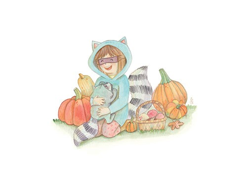 Brenda Figueroa Illustration - brenda, brenda figueroa, commercial, traditional, painterly, watercolour, sweet, young readers, picture books, hand drawn, paint, coloured, fiction, character, girl, racoon, dress up, costume, animal, wildlife, pumpkins, pet