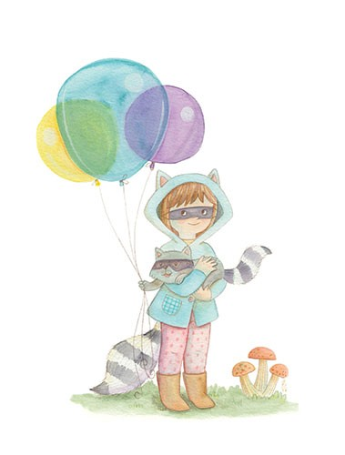 Brenda Figueroa Illustration - brenda, brenda figueroa, commercial, traditional, painterly, watercolour, sweet, young readers, picture books, hand drawn, paint, coloured, fiction, character, girl, racoon, dress up, costume, animal, wildlife, balloons, party, mushrooms, pet, party