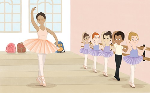 Brenda Figueroa Illustration - brenda, brenda figueroa, commercial, traditional, digital, cute, sweet, colourful, colour, young readers, picture books, boy, girls, children, ballet, dancing, practice, teacher, tutu, leotard, bar, learning, shoes, happy, fun,