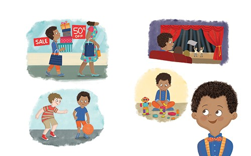Brenda Figueroa Illustration - brenda, brenda figueroa, commercial, traditional, digital, cute, sweet, colourful, colour, young readers, picture books, boy, child, travis, thinking, hobbies, shopping, theatre, basketball, sports, building, bricks, robot, gift, presents, happy, fun, tho