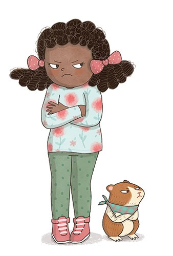 Brenda Figueroa Illustration - brenda, brenda figueroa, commercial, traditional, digital, cute, sweet, colourful, colour, young readers, picture books, girl, guinea pig, pet, friends, character, grumpy, argument, cross, sulking, emotions