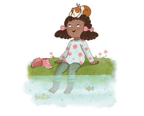 Brenda Figueroa Illustration - brenda, brenda figueroa, commercial, traditional, digital, cute, sweet, colourful, colour, young readers, picture books, girl, guinea pig, pet, friends, love, playing, laughing, happy, character, lake, river, water, fish, grass, scared, boots, flowers, pa