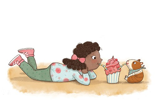 Brenda Figueroa Illustration - brenda, brenda figueroa, commercial, traditional, digital, cute, sweet, colourful, colour, young readers, picture books, girl, guinea pig, pet, friends, love, playing, laughing, happy, character, milkshake, drink, straw, sharing, ice cream, strawberry,
