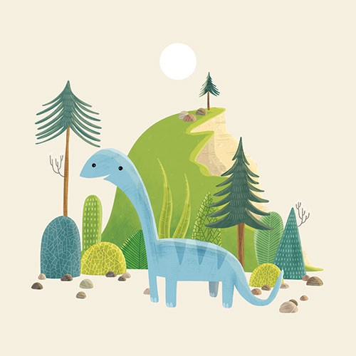 Brendan Kearney Illustration - brendan, kearney, brendan kearney, illustration, colourful, digital, photoshop, hand-drawn, colour, mass market, fiction, picture book, dinosaur, prehistoric, animal, wild, history, hill, trees, nature, rocks, sun, smile, face, cute, educational