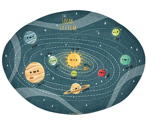 Brendan Kearney Illustration - brendan, kearney, brendan kearney, illustration, colourful, digital, photoshop, hand-drawn, colour, mass market, fiction, picture book, educational, solar system, space, planets, science, sun, earth, rings, gravity, orbit, smiles, faces, cute, sweet
