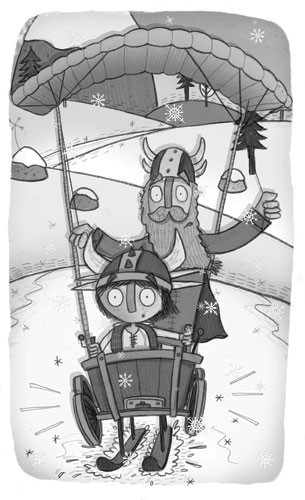 Brendan Kearney Illustration - brendan kearney, brendan, kearney, digital, commercial, fiction, activity, picture book, educational, detailed, young reader, YA, black and white, b+w, vikings, man, child, person, people, figures, water, humor, funny, hills, helmets