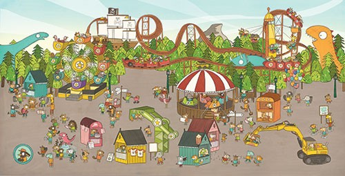 Brendan Kearney Illustration - brendan kearney, brendan, kearney, digital, commercial, fiction, activity, picture book, educational, detailed, animals, characters, dinosaurs, anima, detail, fair ground, plants, town, city, busy