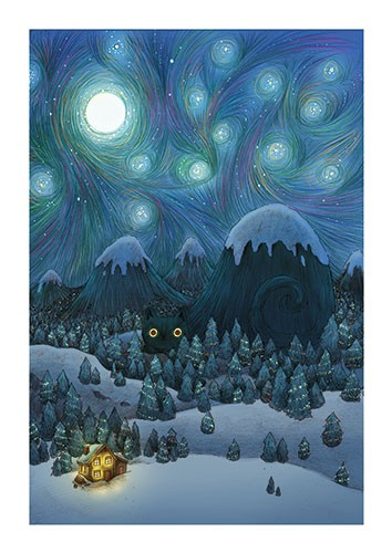 Brittany E. Lakin Illustration - brittany, e., lakin, brittany e. lakin, illustration, pencil, drawing, photoshop, colourful, commerical, mass market, nature, stars, night, sky, mountains, cat, eyes, hiding, camouflage, house, snow, moon, clouds, seasonal, lights, cabin, trees, van gough