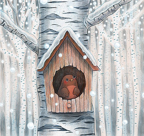 Brittany E. Lakin Illustration - brittany, e., lakin, brittany e. lakin, illustration, pencil, drawing, photoshop, colour, colourful, commerical, mass market, robin, bird, birdhouse, house, tree, showing, snow, winter, seasonal, festive, trees, cold, happy, cute, sweet,