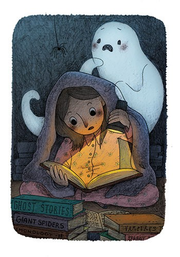 Brittany E. Lakin Illustration - brittany, e., lakin, brittany e. lakin, illustration, pencil, drawing, photoshop, colour, colourful, commerical, mass market, girl, child, reading, books, blanket, torch, dark, nighttime, ghost,  spider, surprise, ghost stories,