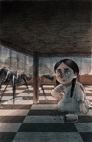 Brittany E. Lakin Illustration - brittany, e., lakin, brittany e. lakin, illustration, pencil, drawing, photoshop, colour, colourful, commerical, mass market, girl, child, table, hiding, giant, spider, ant, bug, tablecloth, crouched, scared, spooky,