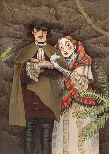 Brittany E. Lakin Illustration - brittany, e., lakin, brittany e. lakin, illustration, pencil, drawing, photoshop, colour, colourful, commerical, mass market, historical, man, woman, victorian, couple, people, characters, rocks, jungle, forest, plants, vines, nature