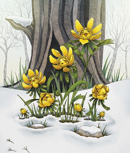 Brittany E. Lakin Illustration - brittany, e., lakin, brittany e. lakin, illustration, pencil, drawing, photoshop, colour, colourful, commerical, mass market, nature, snow, winter, seasons, seasonal, flowers, yellow, faces, happy, smiling, singing, tree, woods,