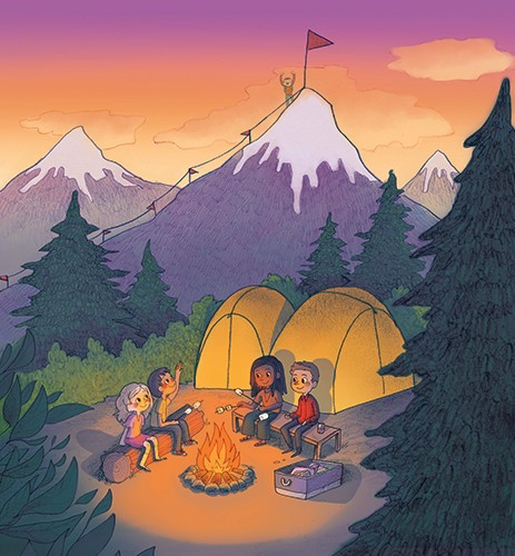 Brittany E. Lakin Illustration - brittany, e., lakin, brittany e. lakin, illustration, pencil, drawing, photoshop, colour, colourful, commerical, mass market, texture, characters, nature, camping, camp, fire, tents, people, friends, mountains, summit, flag, adventure, forest, woods, fun,