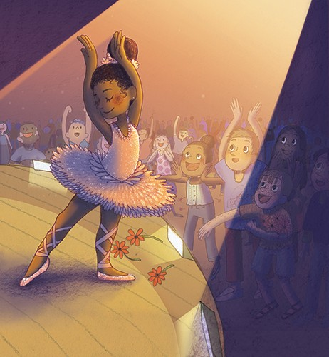 Brittany E. Lakin Illustration - brittany, e., lakin, brittany e. lakin, illustration, pencil, drawing, photoshop, colour, colourful, commerical, mass market, texture, character, ballerina, girl, stage, dance, dancer, dancing, crowd, roses, applause, tutu, spotlight, activity,
