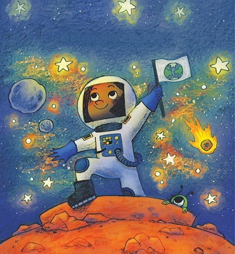Brittany E. Lakin Illustration - brittany, e., lakin, brittany e. lakin, illustration, pencil, drawing, photoshop, colour, colourful, commerical, mass market, texture, character, astronaut, space, planet, flag, alien, stars, asteroids, girl, person, world, earth, nasa, mars,