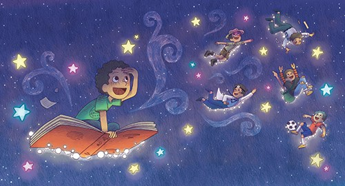 Brittany E. Lakin Illustration - brittany, e., lakin, brittany e. lakin, illustration, pencil, drawing, photoshop, colour, colourful, commerical, mass market, texture, characters, people, kids, children, adventure, books, flying, magical, fantasy, stars, night, sky, friends,