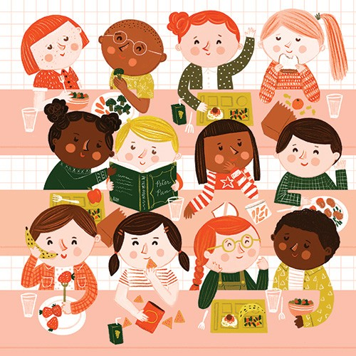Becky Paige Illustration - becky paige, illustrator, digital, photoshop, colour, colourful, texture, vector, educational, characters, boys, girls, children, friends, school, dinner, dining room, lunchroom, lunch, tables, good, trays, reading, books, chatting, talking, happy, snacks