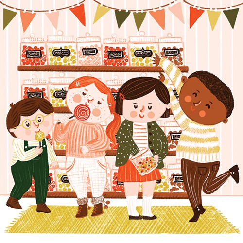 Becky Paige Illustration - becky paige, illustrator, digital, photoshop, colour, colourful, texture, vector, educational, characters, boys, girls, children, friends, sweet shop, shop, shelves, jars, sweets, candy, candy store, lollipop, fun, happy, shopping,
