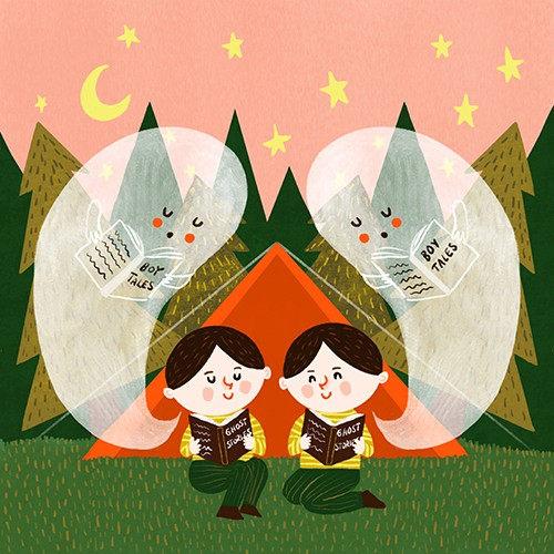Becky Paige Illustration - becky paige, illustrator, digital, photoshop, colour, colourful, texture, vector, educational, characters, boys, children, twins, camping, tent, nature, trees, field, night, stars, moon, forest, ghosts, stories, books, reading, ghost stories, tales, cute,