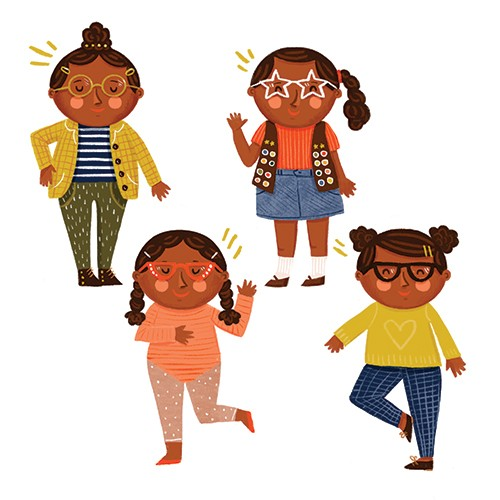 Becky Paige Illustration - becky paige, illustrator, digital, photoshop, colour, colourful, texture, vector, educational, characters, girl, child, glasses, eyewear, fashion, clothing, outfits, fun, happy, smiling,