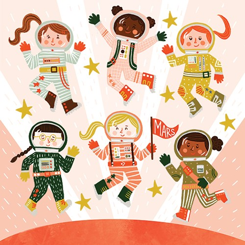 Becky Paige Illustration - becky paige, illustrator, digital, photoshop, colour, colourful, texture, vector, non-fiction, educational, characters, boys, girls, children, astronauts, space, mars, planet, science, nasa, stars, flag, jump, gravity, happy, celebrate, fantasy, adventure