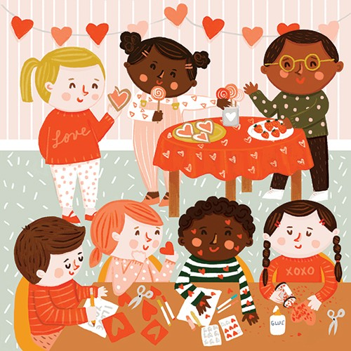 Becky Paige Illustration - becky paige, illustrator, digital, photoshop, colour, colourful, texture, vector, educational, characters, boys, girls, children, friends, tables, hearts, valentines, valentines day, love, cookies, crafts, arts and crafts, school, classroom, strawberries,