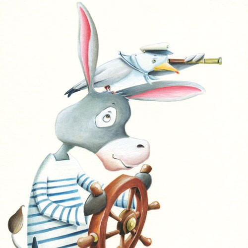 Bruno Robert Illustration - bruno, robert, bruno robert, painted, paint, commercial, picture book, young reader, YA, donkey, animal, seagull, bird,sailor, hat, wheel, friends, friendship, cute, sweet