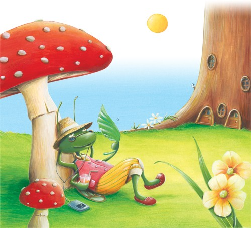 Bruno Robert Illustration - bruno, robert, bruno robert, painted, paint, commercial, picture book, young reader, YA, insects, flowers, bugs, ant, mushroom, sun, tree, grass, humour, hot, sun, sunny, music