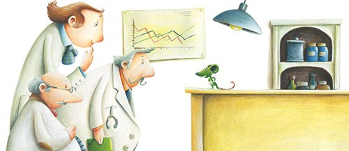 Bruno Robert Illustration - bruno, robert, bruno robert, painted, traditional, paint, commercial, picture book, young reader, people, doctors, lab, mouse, green, small,