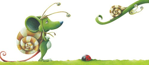 Bruno Robert Illustration - bruno, robert, bruno robert, painted, traditional, paint, commercial, picture book, young reader, mouse, green, nature, mice, ladybird, bug, insect, snail, grass